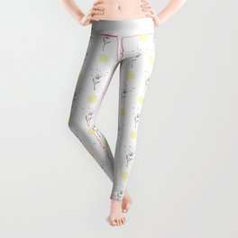Modern gray pastel yellow hand painted floral polka dots Leggings