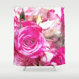 Bunch of Pink roses (watercolour) Shower Curtain