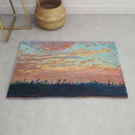Tom Thomson - Sunset Sky - Canada, Canadian Oil Painting - Group of Seven Rug