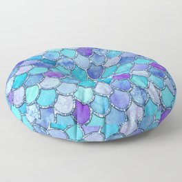 Colorful Blues Mermaid Scales Floor Pillow