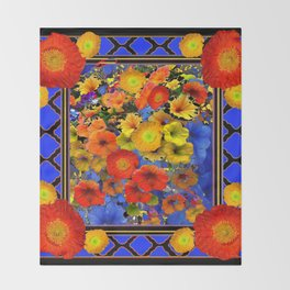BLUE ABSTRACT OF POPPIES & YELLOW PETUNIA FLOWERS Throw Blanket