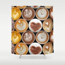 Latte Polka Dots in Black Shower Curtain