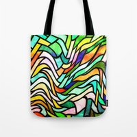 stained glass Tote Bags featuring Stained glass by haroulita