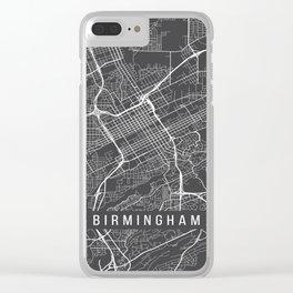 Birmingham Map, Alabama USA - Charcoal Portrait Clear iPhone Case
