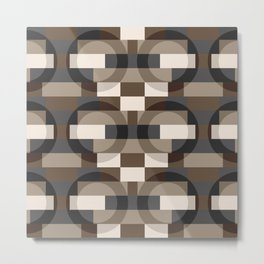 Color Blocks with Circles in Brown and Gray Metal Print