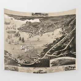 Vintage Pictorial Map of Boothbay Harbor ME (1885) Wall Tapestry