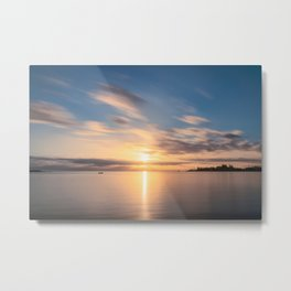 Golden Hues at Sunset at Anse Vata Bay in New Caledonia. Metal Print