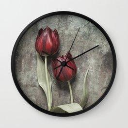 Red Tulips II Wall Clock