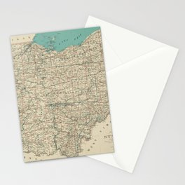 Vintage Map of Ohio (1887) Stationery Cards