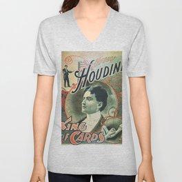 Houdini, king of cards, vintage poster Unisex V-Neck