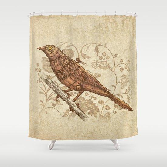 Steampunk Songbird  Shower Curtain