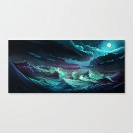 moonlit stormy sea Canvas Print