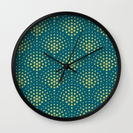 Dark Yellow Polka Dot Scallop Pattern on Tropical Dark Teal Inspired by Sherwin Williams 2020 Trending Color Oceanside SW6496 Wall Clock