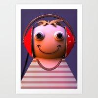 headphones Art Prints featuring Headphones by Aguinaldo Goncalves
