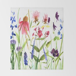 Botanical Colorful Flower Wildflower Watercolor Illustration Throw Blanket