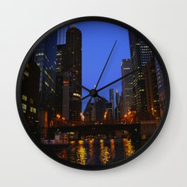 Lights Strike Gold on Chicago River (Chicago Architecture Collection) Wall Clock