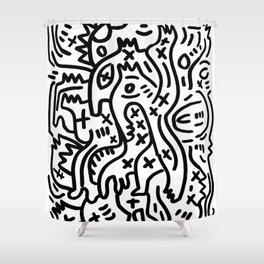 Graffiti Street Art Black and White Shower Curtain