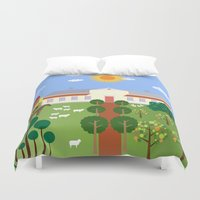 haunted mansion Duvet Covers featuring Mansion by Design4u Studio
