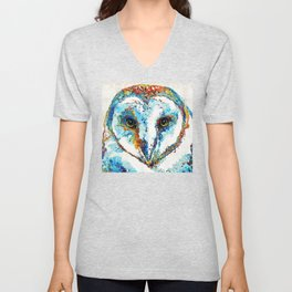 Colorful Barn Owl Art - Birds by Sharon Cummings Unisex V-Neck