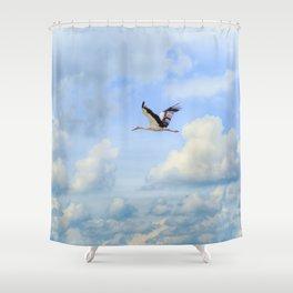 Flying stork Shower Curtain