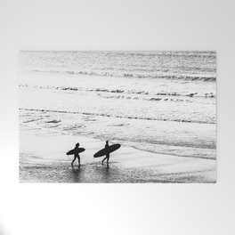 Surfers, Black and White, Beach Photography Welcome Mat