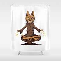 jedi Shower Curtains featuring Jedi cat by Toms Tomsons