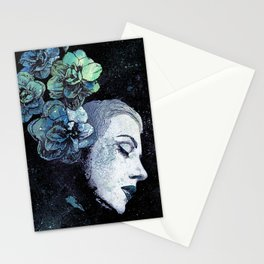 Obey Me: Blue (graffiti flower woman portrait) Stationery Cards