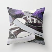 converse Throw Pillows featuring Converse by Leslie Creveling