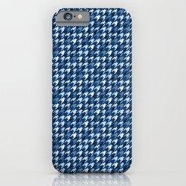 Glen plaid.Dark blue and white. Polyline cell. iPhone Case