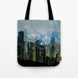 Hong Kong Night Panorama Tote Bag