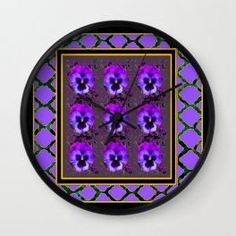 GARDEN OF PURPLE PANSY FLOWERS BLACK & TEAL PATTERNS Wall Clock