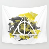deathly hallows Wall Tapestries featuring The Deathly Hallows (Hufflepuff) by FictionTea