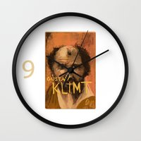 gustav klimt Wall Clocks featuring 50 Artists: Gustav Klimt by Chad Beroth