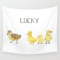 ducks Wall Tapestries featuring Lucky Ducks by Yardia