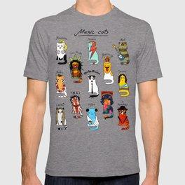 Music Cats. Rock, pop, reggae, rock-n-roll, punk, gothic. T-shirt