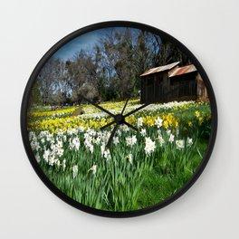 Daffodils and Barn Wall Clock