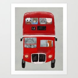 the little big red bus Art Print