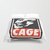 obey Duvet Covers featuring OBEY: NICK CAGE by MDRMDRMDR