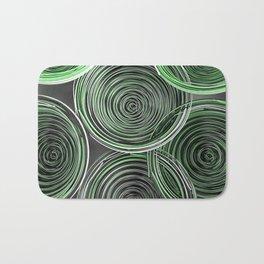 Black, white and green spiraled coils Bath Mat