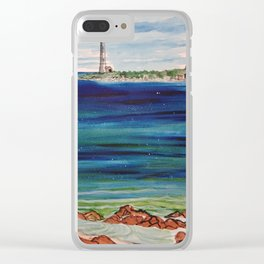 Thatcher island lighthouses on a peaceful day Clear iPhone Case