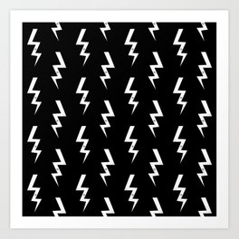 Bolts lightening bolt pattern black and white minimal cute patterned gifts Art Print