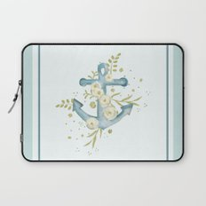 Blue anchor and flowers Laptop Sleeve