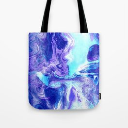 Swirling Marble in Aqua, Purple & Royal Blue Tote Bag