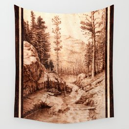 Pyrography Forest River Nature Mountain Burned Wood Wall Tapestry