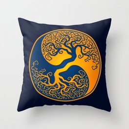 Blue and Yellow Tree of Life Yin Yang Throw Pillow