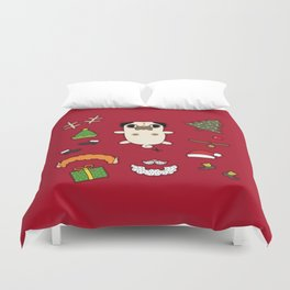 Christmas Pug Doll Duvet Cover