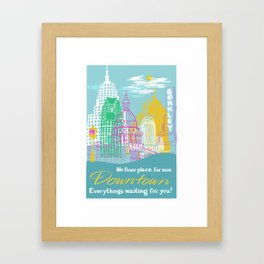 WPA Style Downtown (Detroit) Illustrated Print  Framed Art Print