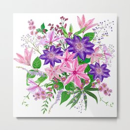 Bouquet with pink and violet clematis flowers Metal Print