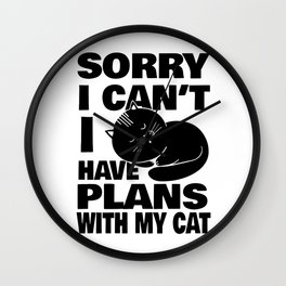 Cats Plans Home Rest Sarcasm Joke Gift Wall Clock