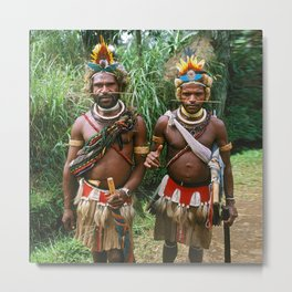 Papua New Guinea: Two Countryside Villagers Metal Print